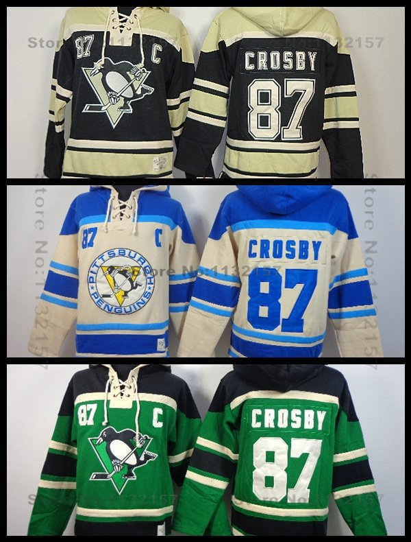 Pittsburgh Penguins Hoodie #87 Sidney Crosby Old Time Hockey Heavyweight Stitched C Patch