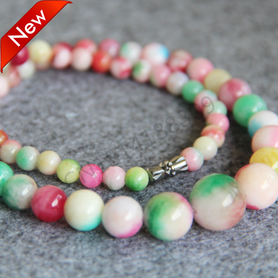 New For Necklace 6-14mm Natural Pink&Green jade beads Jasper Necklace women girls Beads 18inch Jewelry making design wholesale(China (Mainland))