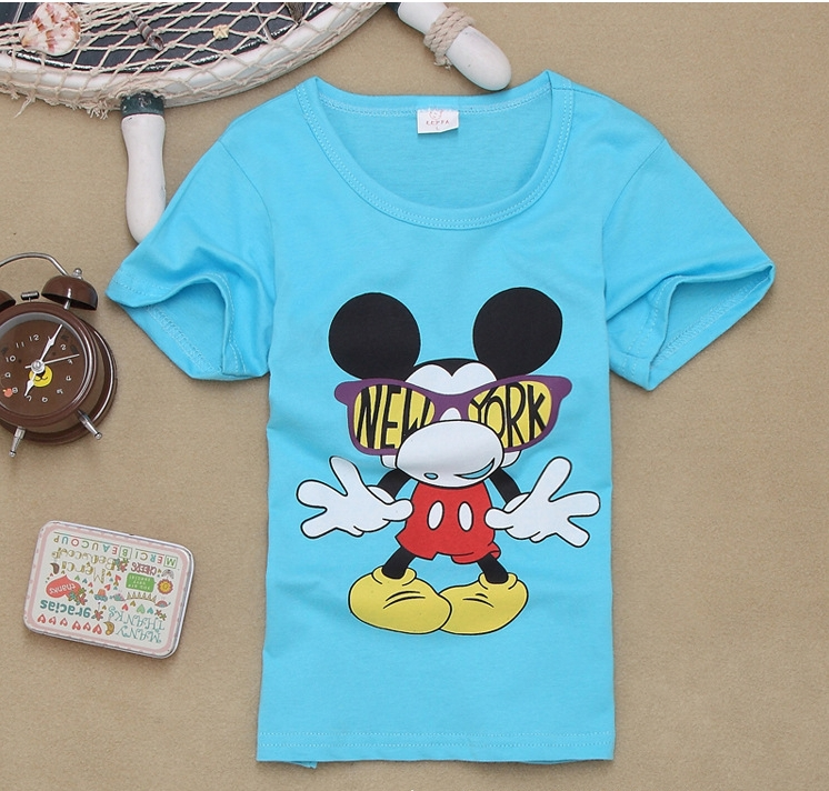 2015 Summer New Kids Custom Shirts Baby Mickey Mouse Children Cheap T shirts Cotton for Girls Clothes Boys Blank Tee Shirts(China (Mainland))