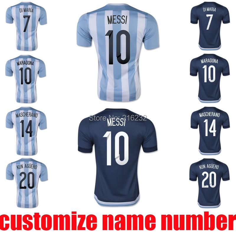 2015 argentina home away soccer jerseys thai quality 15 16 MESSI KUN AGUERO DI MARIA MASCHERANO football uniform t shirt(China (Mainland))