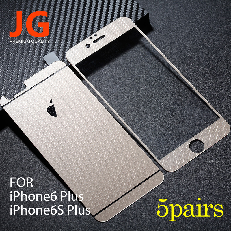 JG 5 pairs lot Front Back Tempered Glass Color Film 6plus Full Cover font b Screen