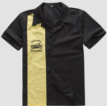 Men's Work Shirts Online Vintage Rock 40's Western Style Yellow Cowboy Short Sleeves Hip Hop Party Club Shirt with Embroidery(China (Mainland))