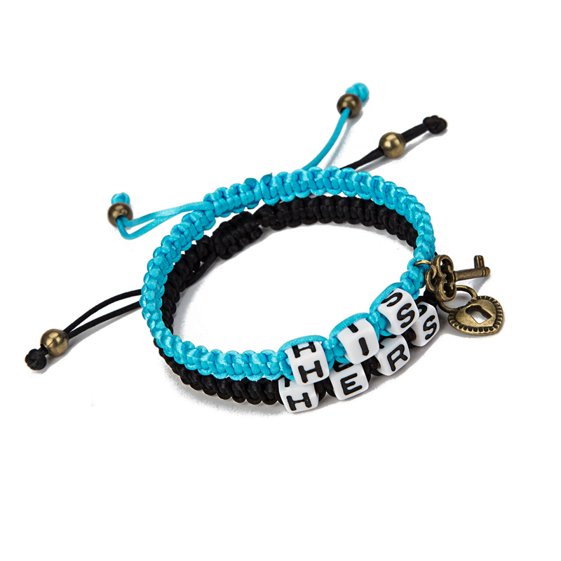 2016 Couple hers and his lock key braided men bracelet women lovers bracelet bracciali uomo pulseras hombre Valentine's Day gift(China (Mainland))