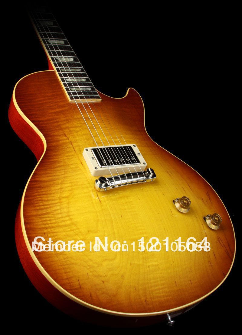 best china guitar Custom Shop Limited Run 1958 Reissue, 1 Pickup, Figured Top, Gloss Iced Tea OEM(China (Mainland))