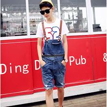 Summer men's fashion hole overalls Korean style pocket denim shorts Male jumpsuits Jeans Bib pants Free shipping(China (Mainland))