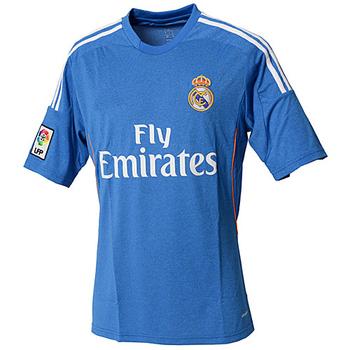 The new 13/14 season Real Madrid away blue football jerseys player version men 's soccer kits best Thai quality top sportswear