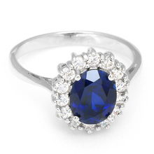 Luxury British Kate Princess Diana William Engagement Wedding Blue Sapphire Ring Set Pure Solid 925 Sterling