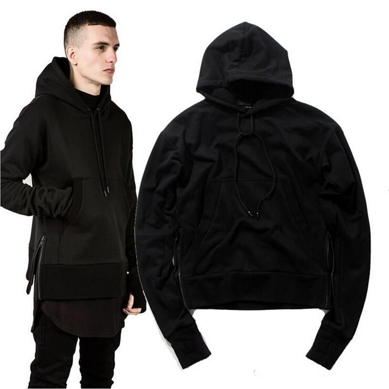 Hip Hop Streetwear 2015 Hype Men's Fashion M-2xl Plain Black Side Zip Pullover Hoodies Men Bigbangkpop Clothes Urban Clothing - Enjoy Shopping For Everybody store