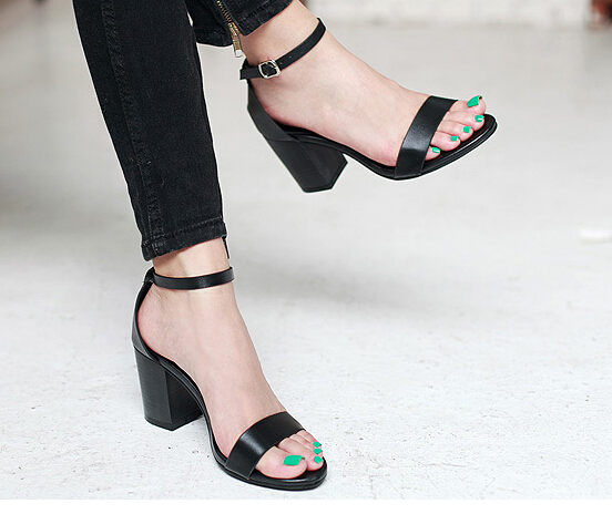 Ankle Strap Thick Heels  Tsaa Heel