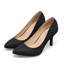 New 2016 Size 33-41 Fashion Flash Material 3 inch Sexy High Heels Women Pumps Ladies Wedding Shoes Woman Chaussure Femme(China (Mainland))