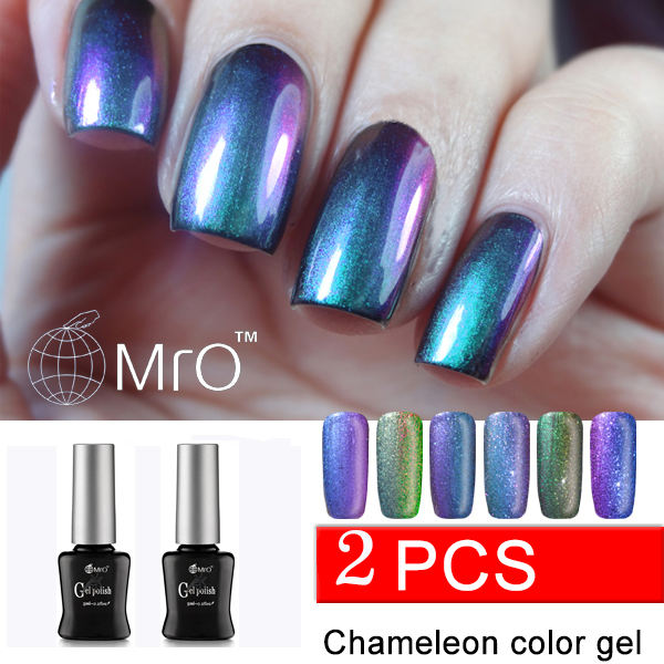 MRO 2 pieces/lot 2016 new arrival uv gel nail chameleon varnish gel nail polish varnishes gel lacquer nail glue professional