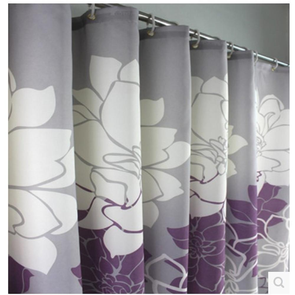 Rhinestone shower curtain hooks - 2014 Purple Peony High Grade Bathroom Polyester Shower Curtain Waterproof Mildew Thickened Polyester Shower Curtainfor