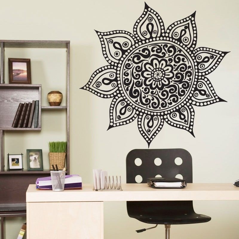Wall Sticker For Home Decor : Yoga mandala om indian buddha symbol mehndi vinyl wall