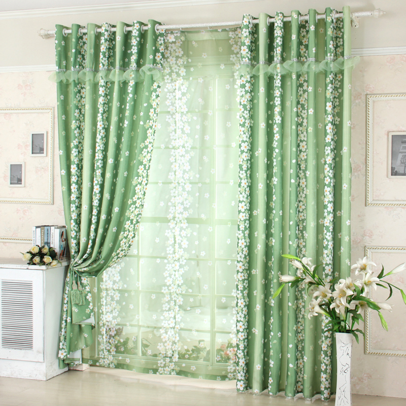 Green floral blackout curtains for mordern living room pastoral tulle sheer c