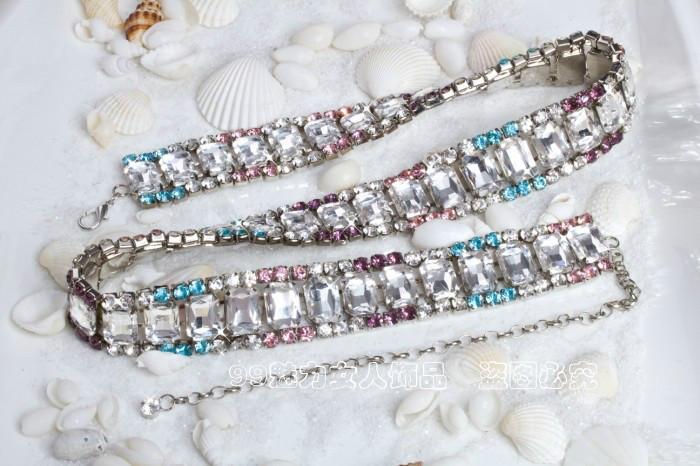 Czech import color crystal inlaid crystal waist chain lady dress Korean wild hip belt metal chain()