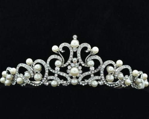 Austrian Crystals Faux Pearl Clear Flower Tiara Crown Wedding Bride SHA8617<br><br>Aliexpress