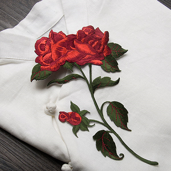 Rose flower applique embroidery buiter patch diy