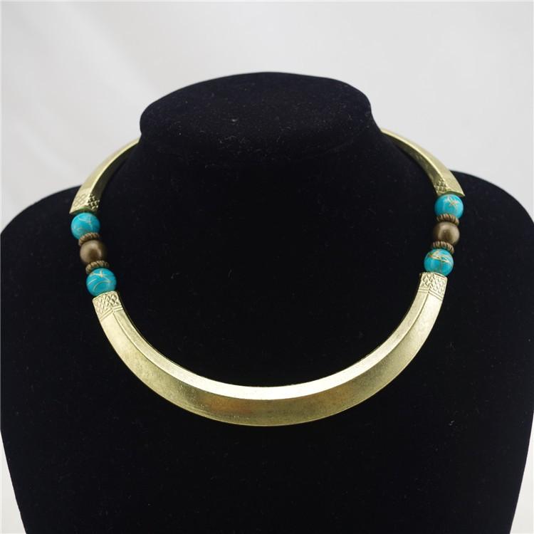 בציר עממית בסגנון כחול חרוז סגסוגת Chokers שרשראות אופנה ליידי תכשיטים N-289