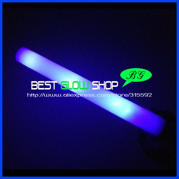 180pcs/lot 4*48cm 3 modes blue led foam stick foam glow stick light foam stick for party(China (Mainland))
