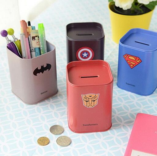 Cute Square design/Super Hero series DIY Multifunction MINI iron box/saving box/Tin box/Metal storage tin/Wholesale<br><br>Aliexpress