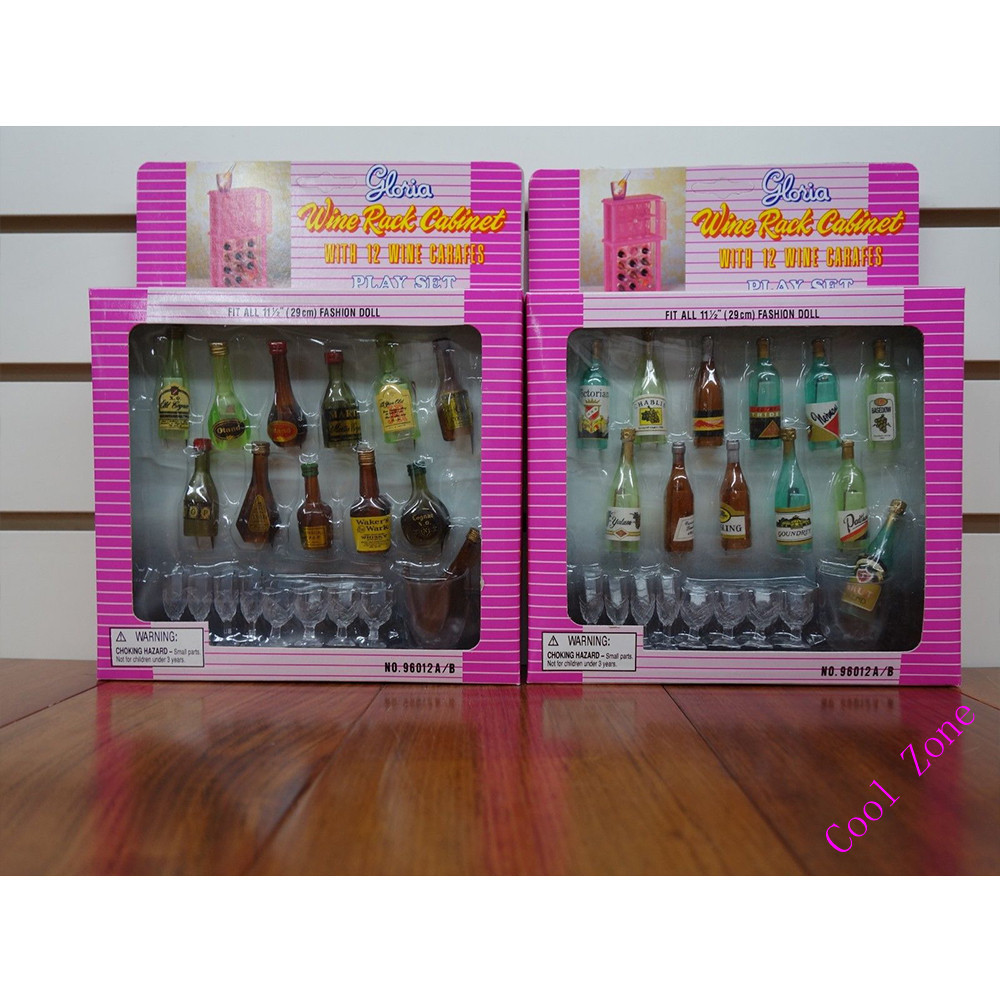 Miniature Furniture Wine Cabinet Set with Wine for Barbie