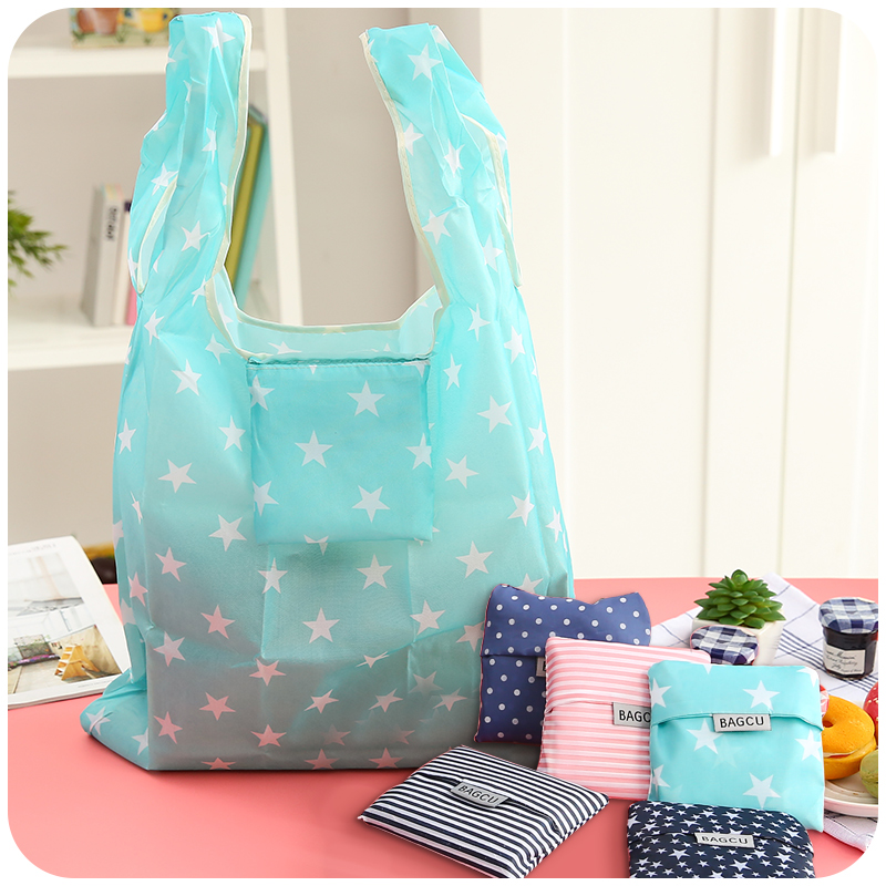 Creative Fashion Reusable Portable Shopping Bags Grocery Handbags Tote Folding Large Capacity Portable Mobile Storage Bags(China (Mainland))