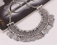 1 pcs Gypsy  retro antique silver plated  Stylish Pretty Boho  Coins Choker Statement Necklace  2 colors