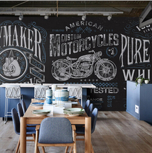 Personality retro fist large mural motorcycle locomotive restaurant cafe bar background wallpaper