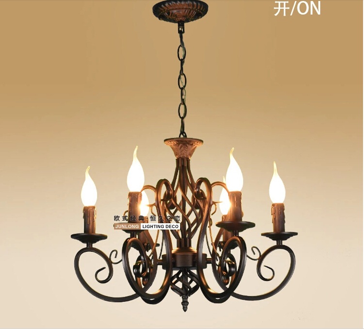 European Fashion Vintage Chandelier Ceiling lamp 6 Candle Lights Lighting Iron Black/White Lampshade Fixtures E14 Chandeliers <br><br>Aliexpress