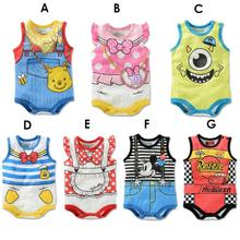 Newborn Baby Rompers Cute Mickey Minnie Cartoon Cotton Baby Wear Summer Sleeveless Infant Jumpsuit Boy Girl Baby Clothes(China (Mainland))