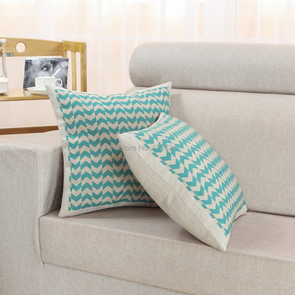 CaliTime Cushion Covers Decorative Pillows Shells Cute Teal Zigzag Stripes Print 18 X 18 45cm X