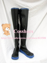 Custom made black and blue long Miku Shoes boots from vocaloid Cosplay