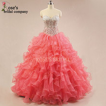 2016 New Design Sweetheart Neck Beaded Coral Quinceanera Dresses Cheap Gowns Vestido De Debutante Sweet 16 - Rose's Bridal store