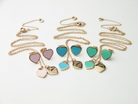 316 Titanium Steel colorful heart pendant & necklace-Free Shipping by China Post Airmail 2013 jewelry N436