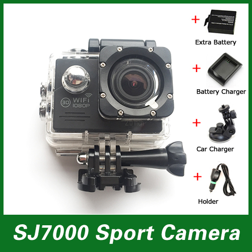 New model Sport Action Camera SJ7000 Wifi 30M Waterproof 2.0 LTPS 1080P +Car Charger+Holder+Extra 1pcs battery+Battery Charger(China (Mainland))