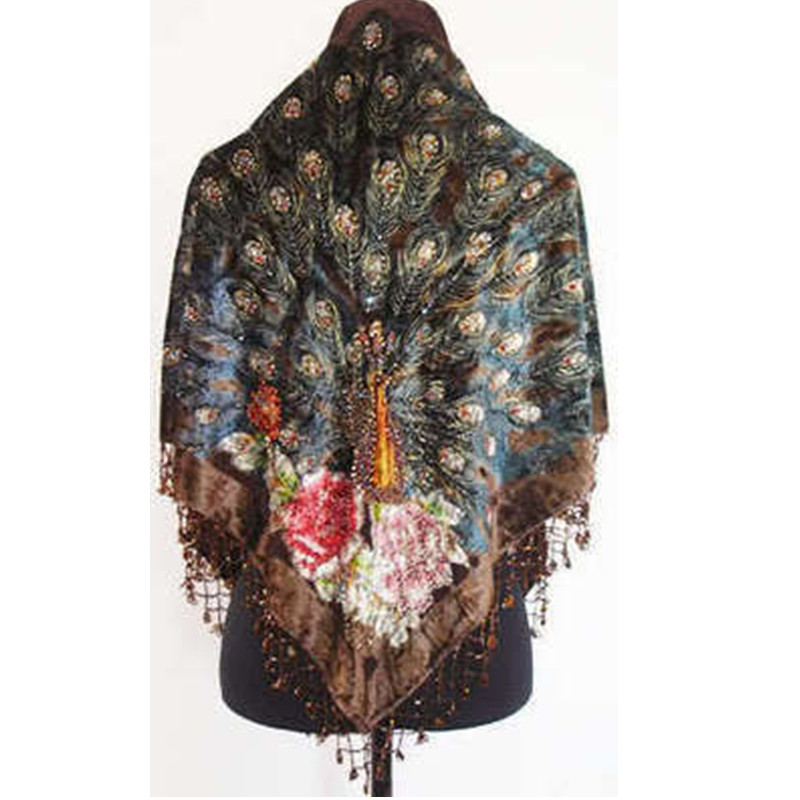 Free Shipping Coffee Womens Triangle Velvet Silk Beaded Embroidery Shawl Scarf Peafowl    SW09-GОдежда и ак�е��уары<br><br><br>Aliexpress