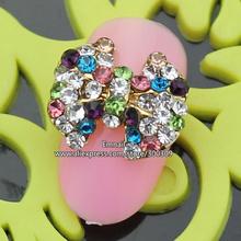 Rh541 сплава раскрашенная стразы 3d ногтей украшения луки блестит DIY накладные ногти , украшенные 30 шт./лот 11 * 14 мм бесплатная доставка
