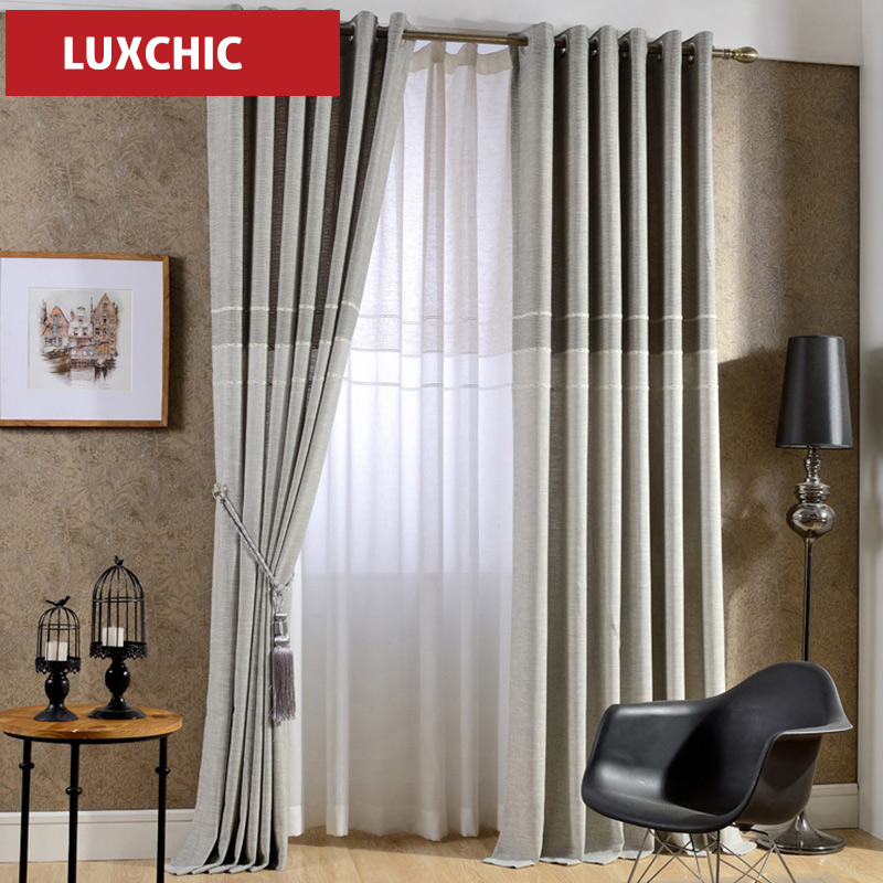 1 pc curtain and tulle japan Style Jacquard Thick Linen Modern Curtains for Living Room Window Curtains for Bedroom Custom Made(China (Mainland))