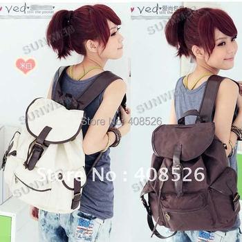 New Fashion Women's Bag Canvas Shoulder Handbags Coffee Beige free shipping 3318