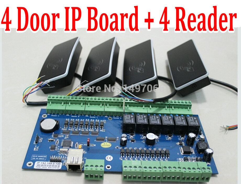 DIY Complete Kit 1 pcs 4 Door Web Server Access Controller PCB Board + 4 pcs Proximity EM Readers+ Web Software+Programming Manu(China (Mainland))