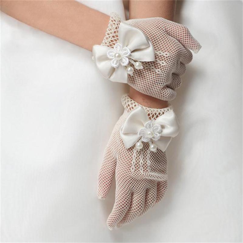 Noble Little Lady Girl formal occasion gloves evening wear girl gloves Hollow net bow princess girls birthday baptism gloves