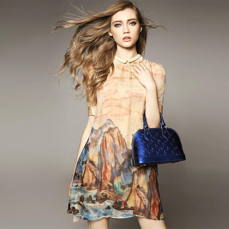 High Quality Vintage Printed Silk Dresses Women Summer Dress 2015 Desigual Vestidos Plus Size Vestido De Festa Curto Casual Robe