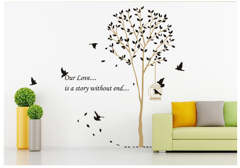 Wall sticker tree diy removable art vinyl wall stickers for Diy tree wall mural