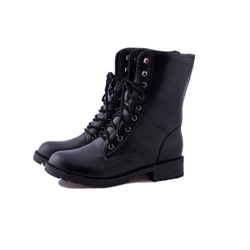 2015 Autumn Winter Women Motorcycle Martin Boots Black Ankle Waterproof Punk Boots Lace up Botas Femininas Woman  Military Shoes