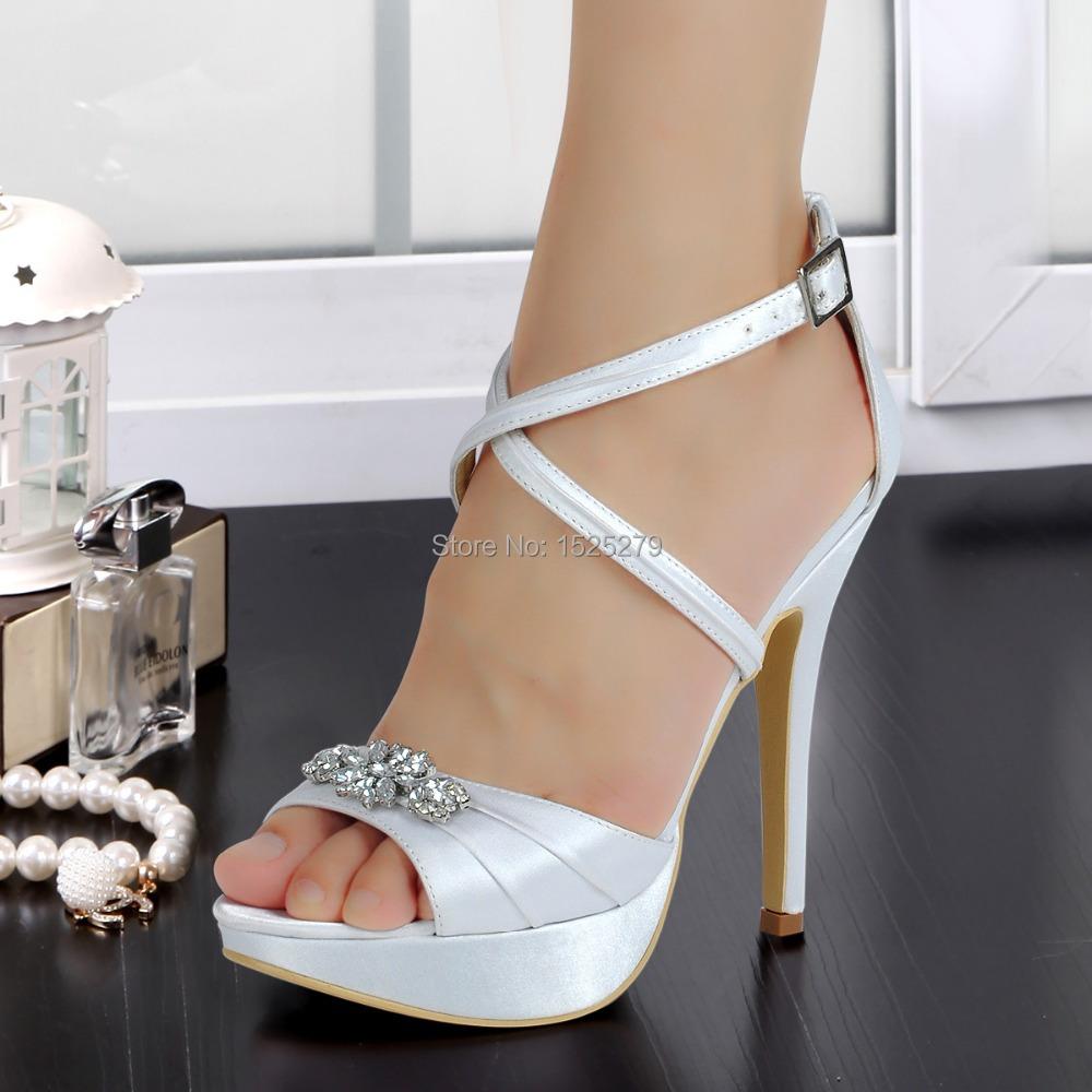 EP2115-PF White Women Open Toe Bridal Prom Party Sandals Cross-strap Platform Rhinestones Pleat Satin Buckle Strap Wedding Shoes<br><br>Aliexpress