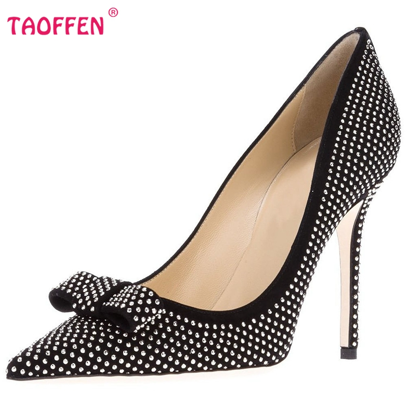 Фотография Women High Heel Shoes Ladies Pointed Toe Party Shoes Woman Sexy Brand Crystal Dress Pumps Heels Heeled Footwear Size 35-46 B229