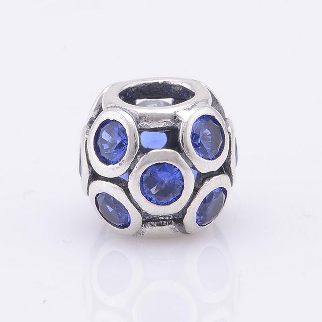 Подходит пандоры прелести браслет аутентичные 925 серебряные бусины мяч круг синий кристалл женщины шарм DIY ювелирных бесплатная доставка