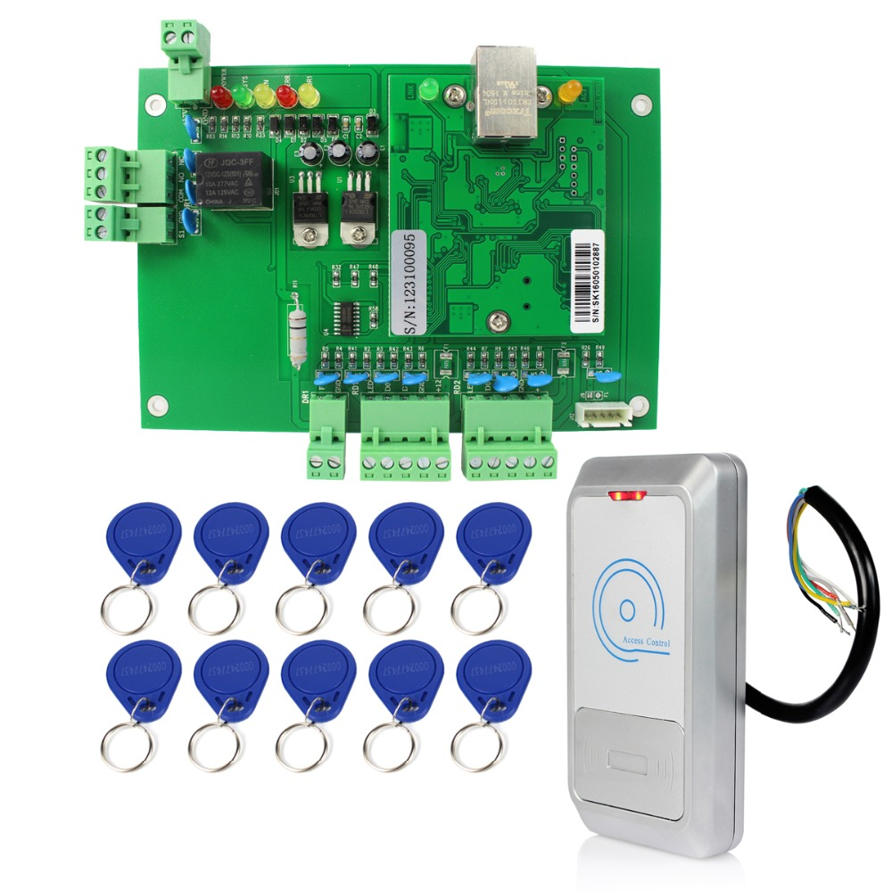 Wiegand TCP/IP Network Entry Access Control Board Panel Controller + Waterproof RFID 125KHz Card Reader +10 Keyfobs Kit F1661(China (Mainland))
