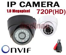 Free shipping 720P H.264 1.0 Megapixel  HD ONVIF IP Camera Indoor 24pcs IR LEDs Night Vision Network Dome Camera