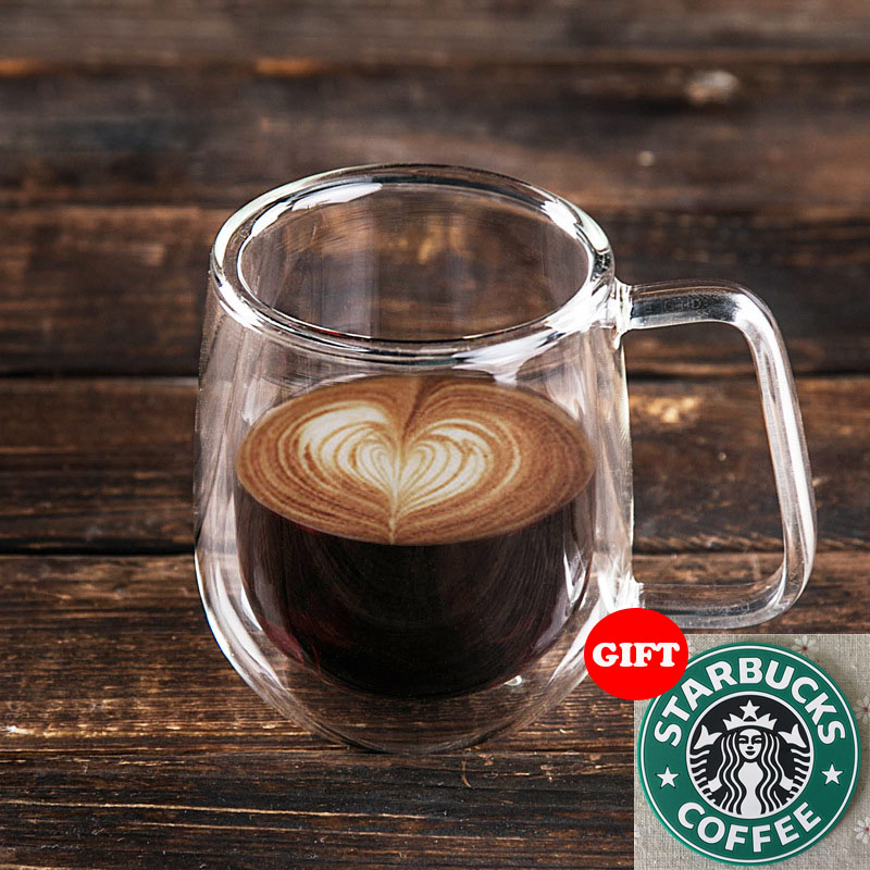 200ml Handmade Healthy Coffee Cups and Mugs Double Wall Glass Coffee Cups Heat Resistant Glass Cups Thermal Insulated Creative(China (Mainland))